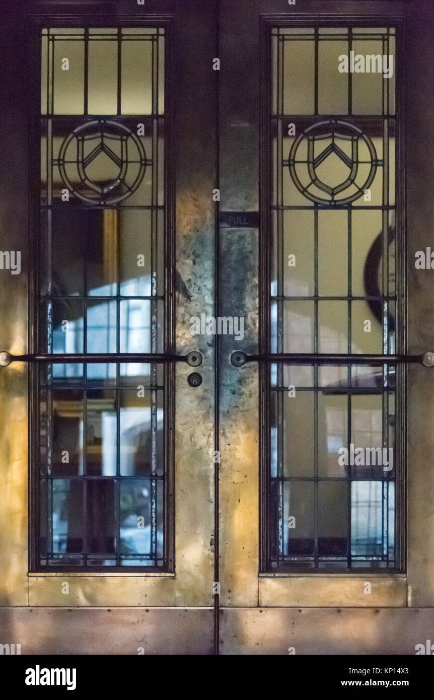 Antique metal and glass doors in Lupton Hall at Oglethorpe University in  Atlanta, Georgia, USA. - Antique Metal And Glass Doors In Lupton Hall At Oglethorpe