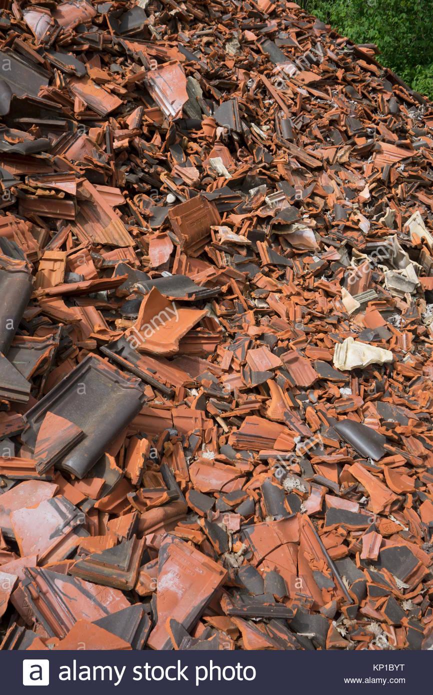 Europe Germany Bavaria View Of Broken Ceramic Tiles Used To Stock - Ceramic tile scraps