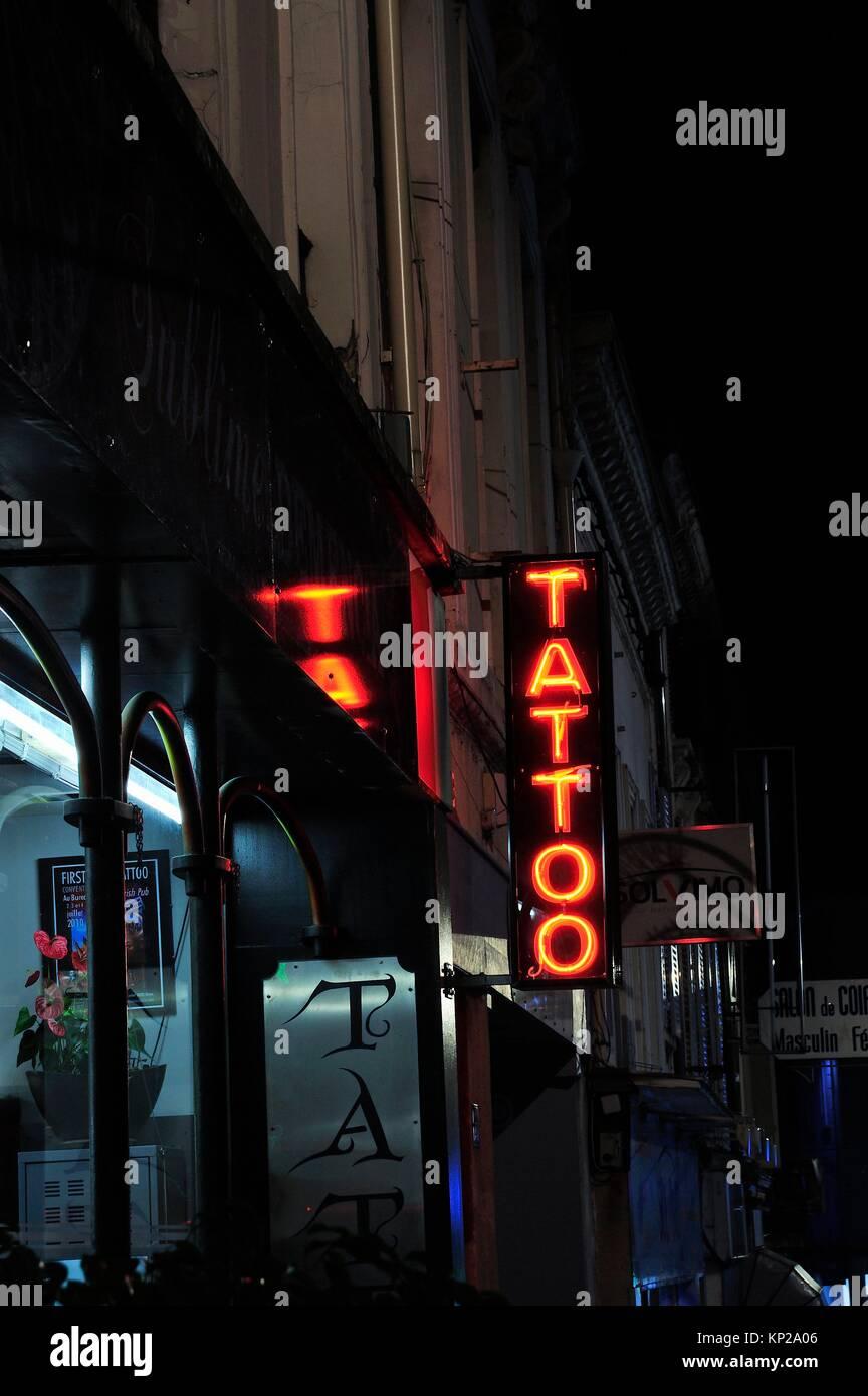 Neon Tattoo Sign Stock Photos Amp Neon Tattoo Sign Stock