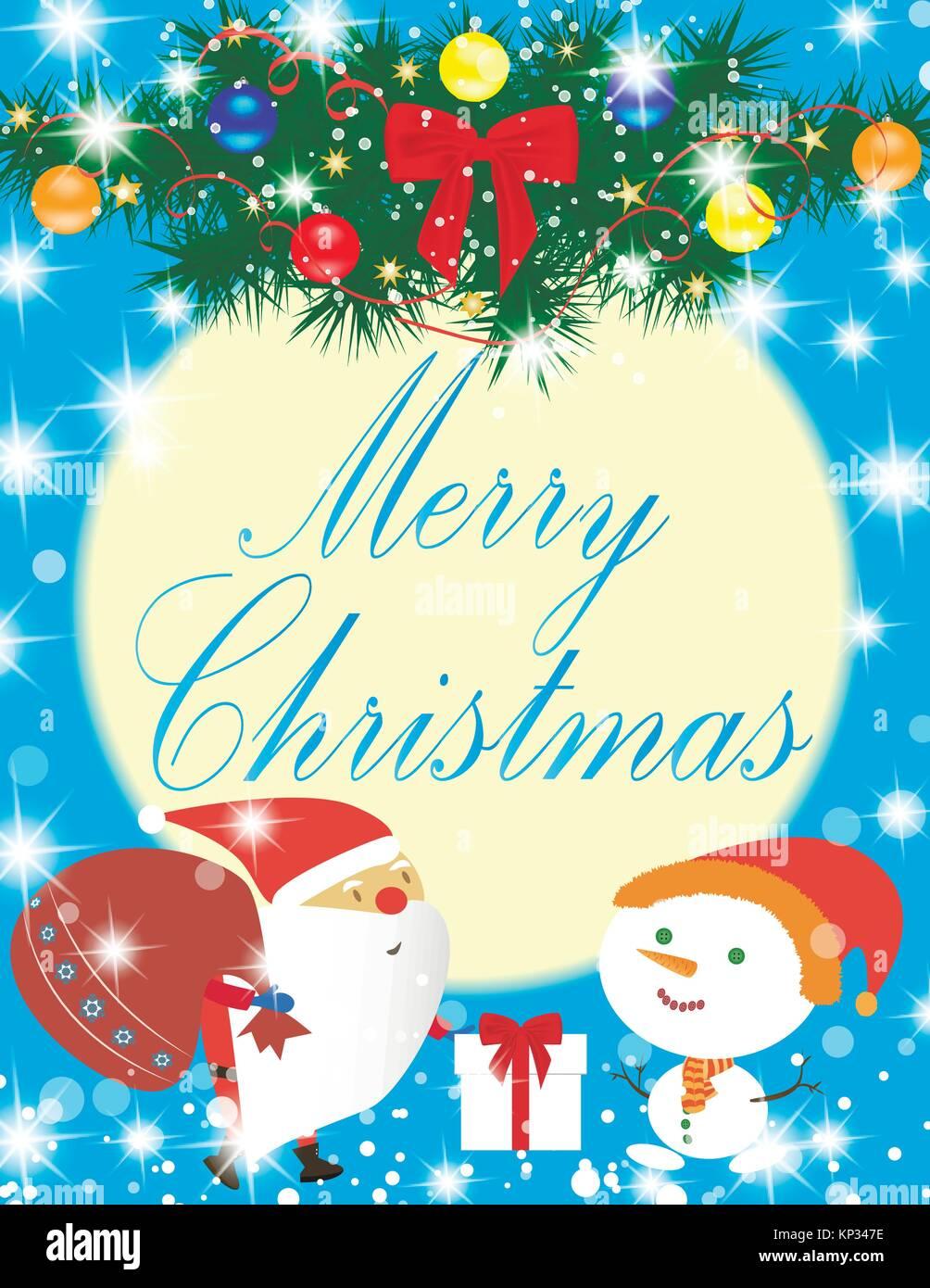 Merry Christmas Card Stock Vector Art Illustration Vector Image