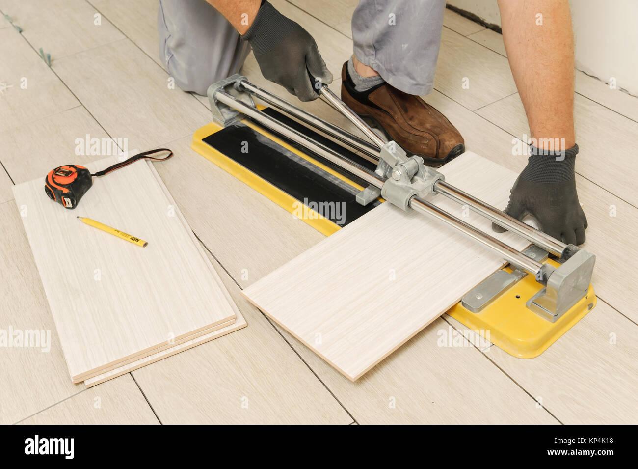 Laying Ceramic Tiles Tiler Cuts Tile Manual Cutter Stock Photo