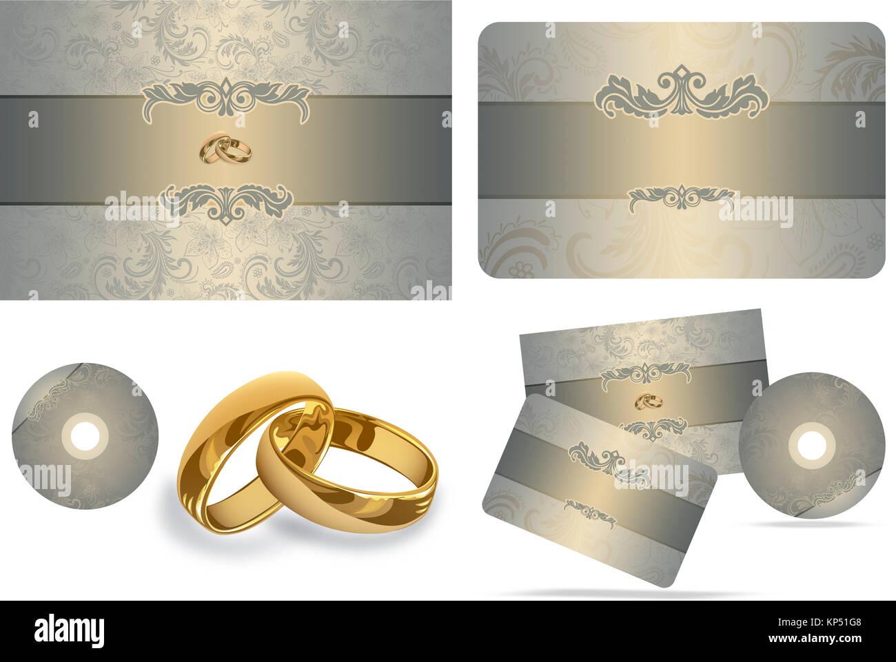 Wedding templates of invitation card gift card cd and gold rings wedding templates of invitation card gift card cd and gold rings on white background stopboris Images