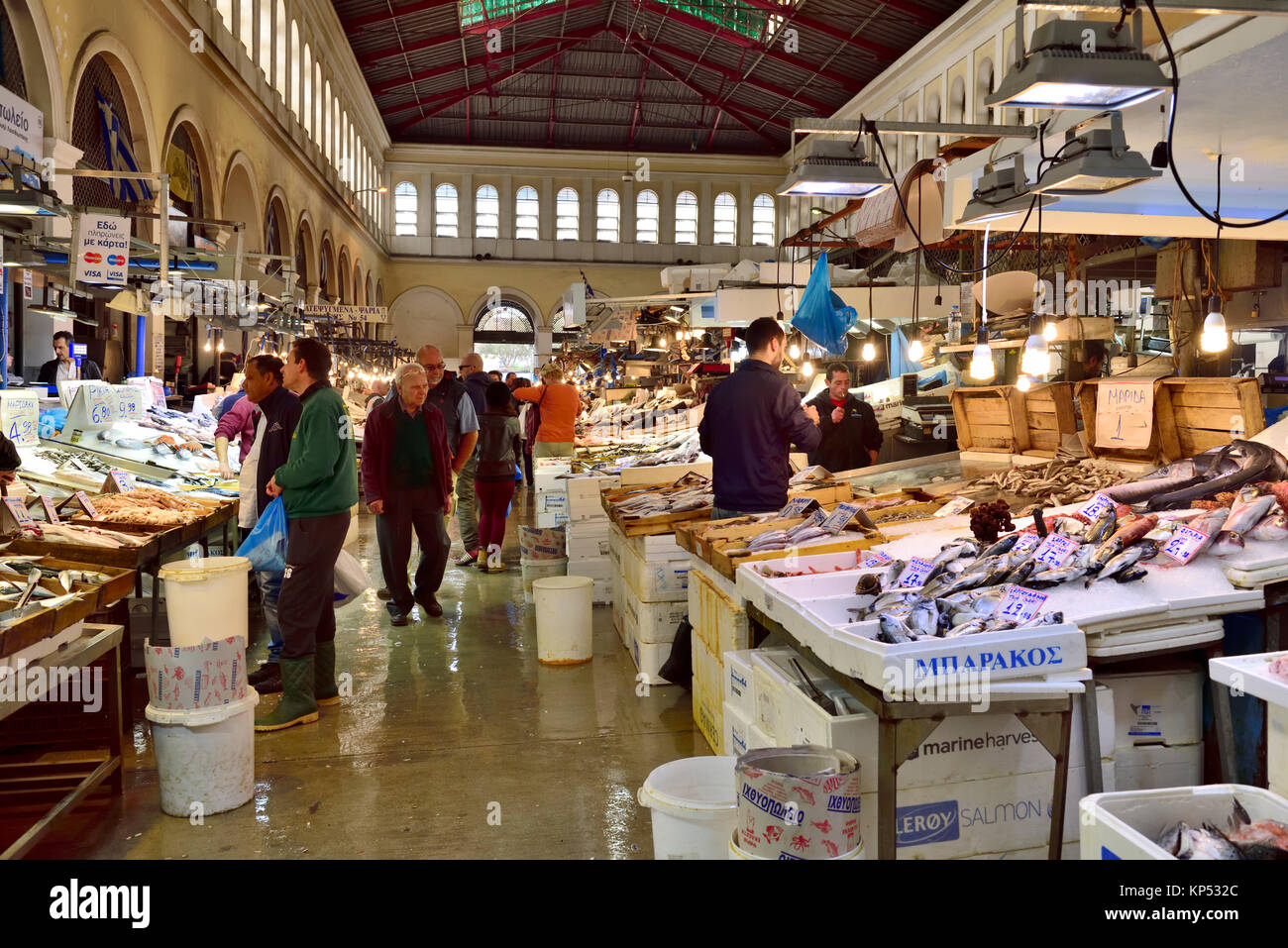 Central market fish fishmonger greece stock photos for City fish market fort myers