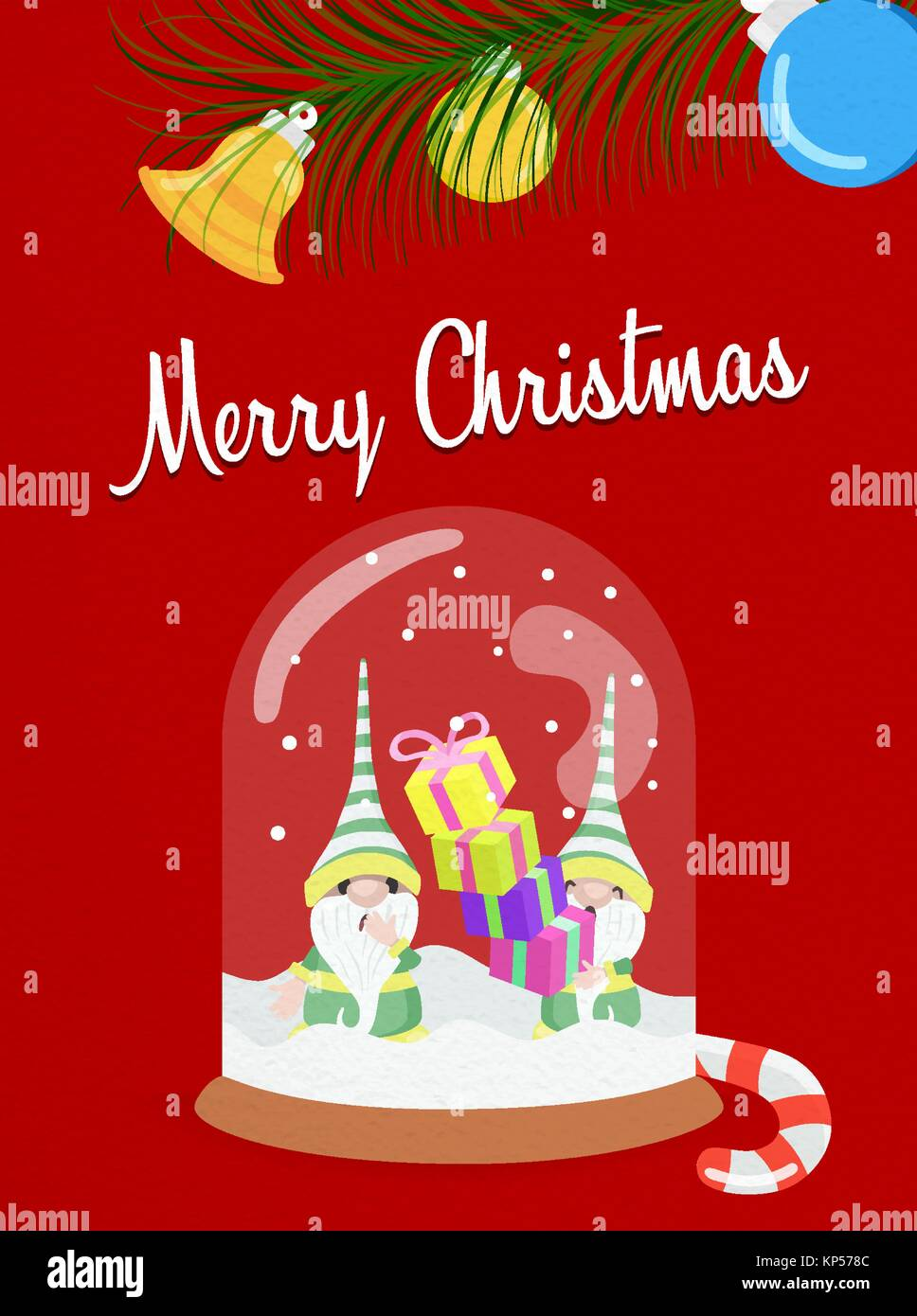 Merry christmas greeting card snow globe illustration for holiday merry christmas greeting card snow globe illustration for holiday season funny elf characters with kristyandbryce Choice Image