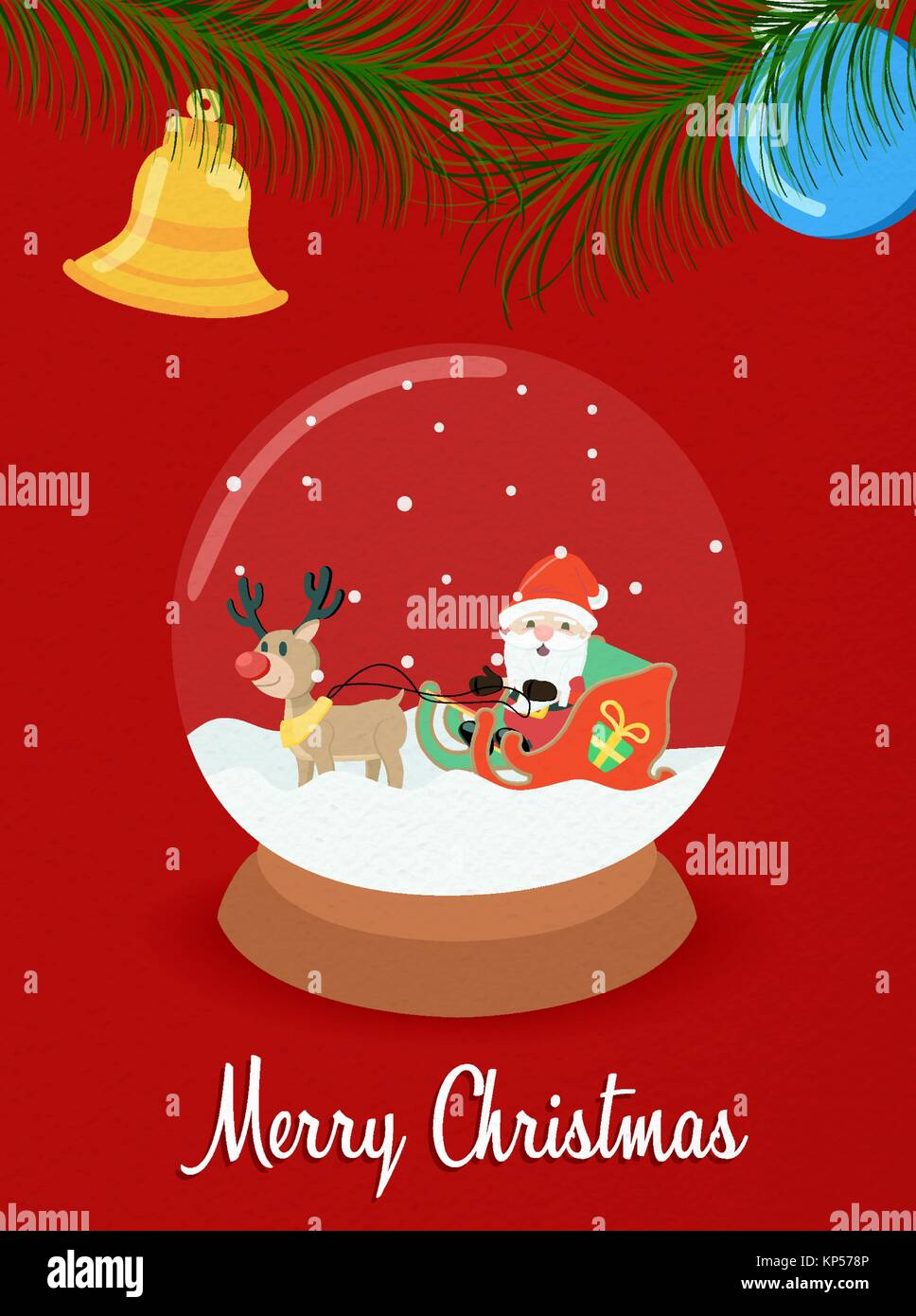 Merry Christmas greeting card snow globe illustration for holiday ...