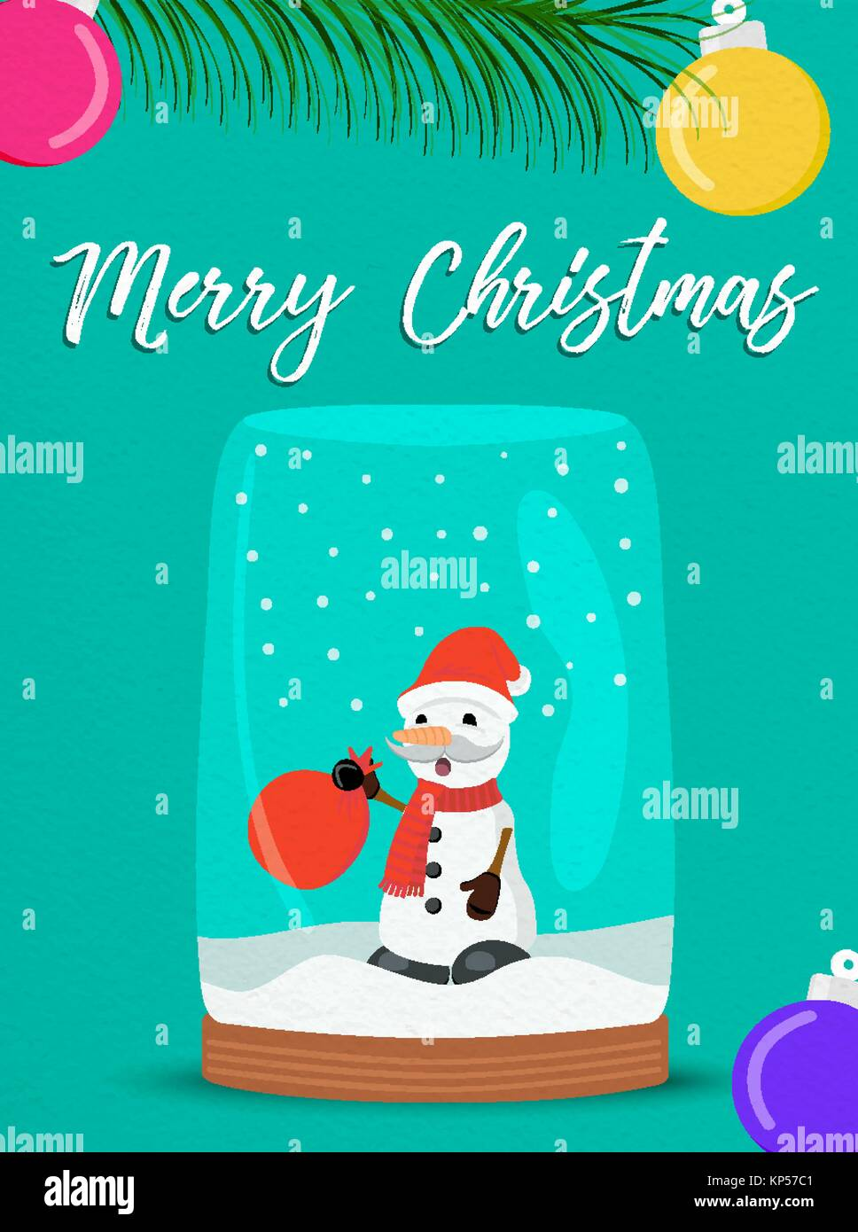 Merry Christmas Greeting Card With Snow Globe Illustration For Stock