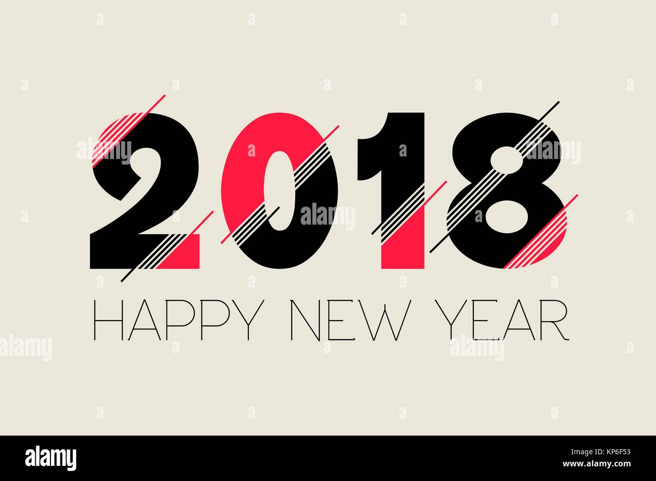 happy new year 2018 typography number design modern quote ideal for greeting card or holiday party invitation eps10 vector
