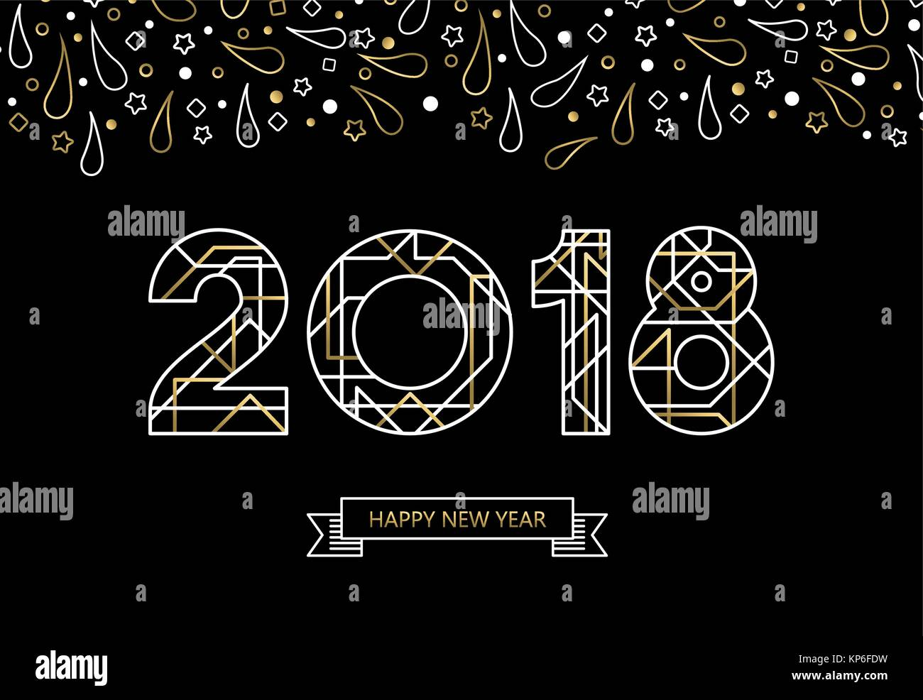happy new year 2018 number typography card in art deco style gold color line sign with label eps10 vector