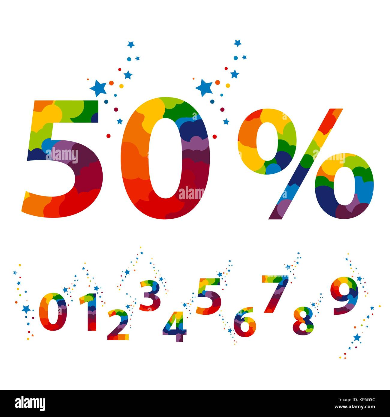 50 percent color numbers for promotional poster design vector