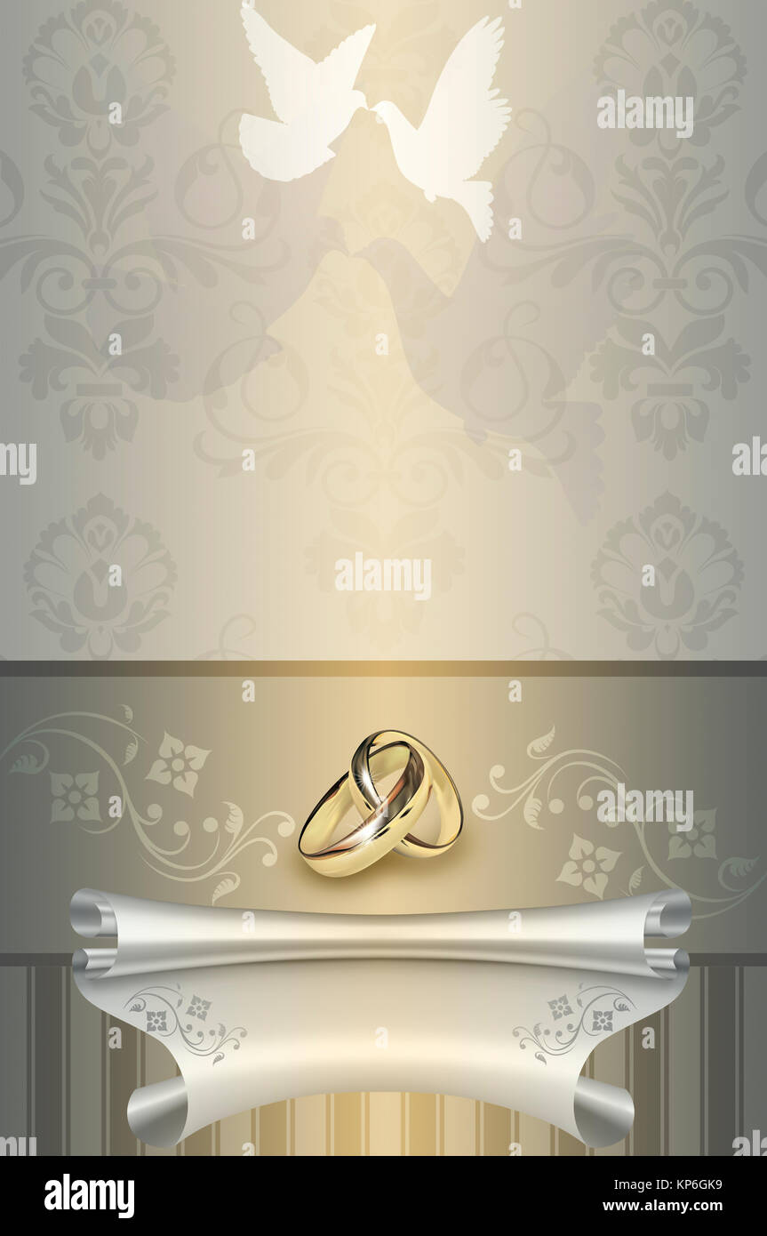 Template card of wedding invitation with doves and floral patterns ...