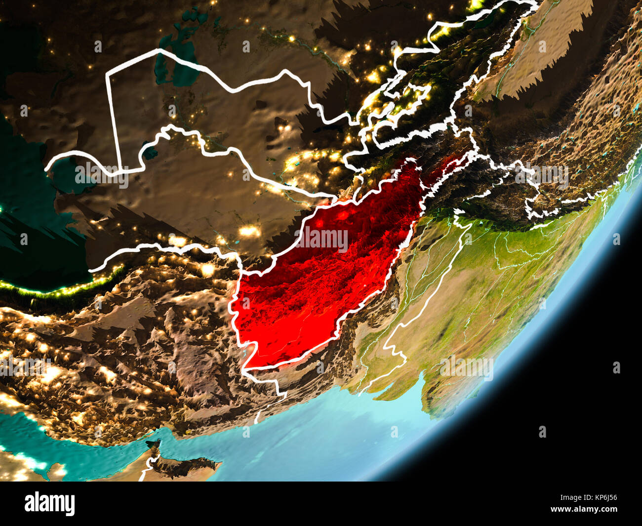 Afghanistan in early morning light highlighted in red on planet afghanistan in early morning light highlighted in red on planet earth with visible border lines and city lights 3d illustration elements of this ima gumiabroncs Image collections