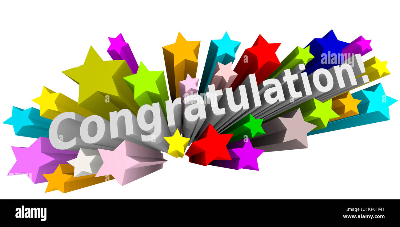 congratulation with colorful stars on a white background stock photo