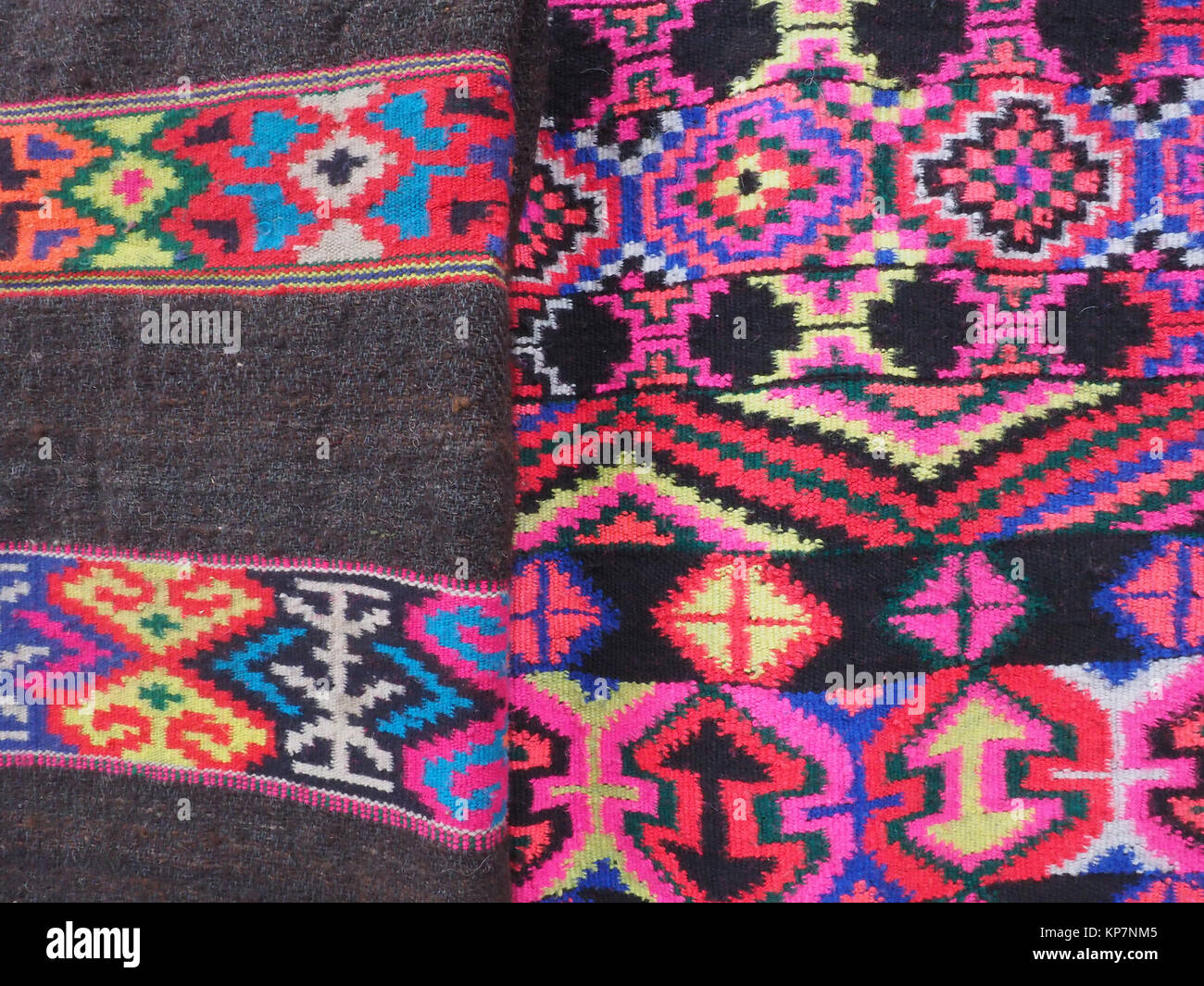 bright red pink embroidery traditional buddhist patterns in