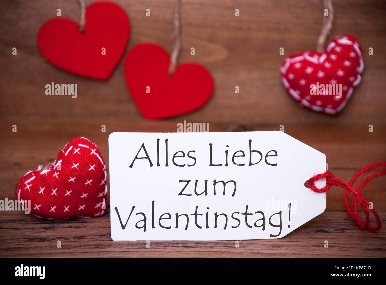 One White Label With German Text Alles Liebe Zum Valentinstag Means Happy  Valentines Day. Romantic