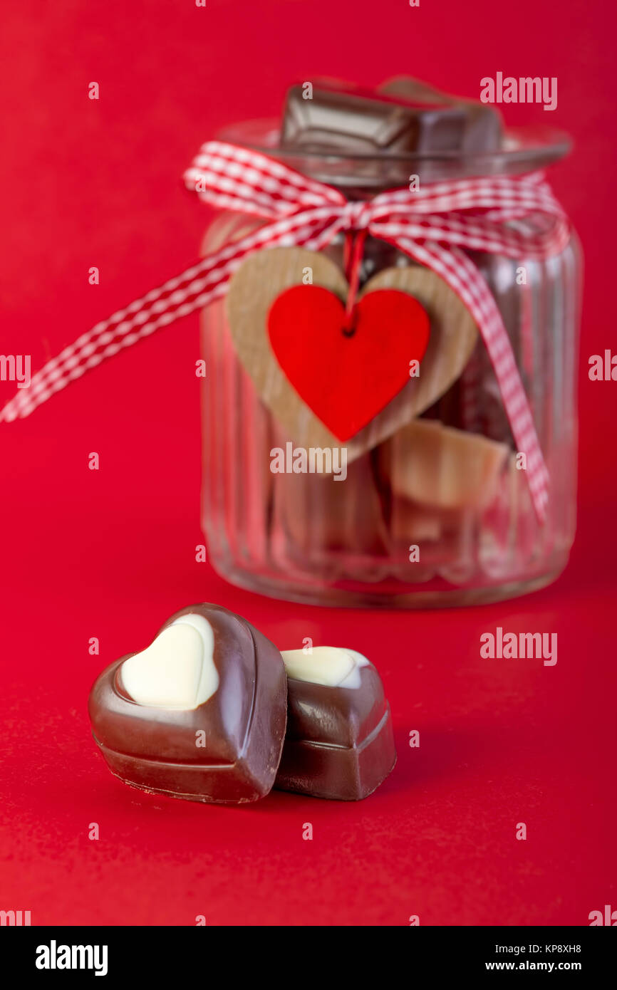 Chocolate In A Jar Valentines Day Concept Stock Photo 168612228