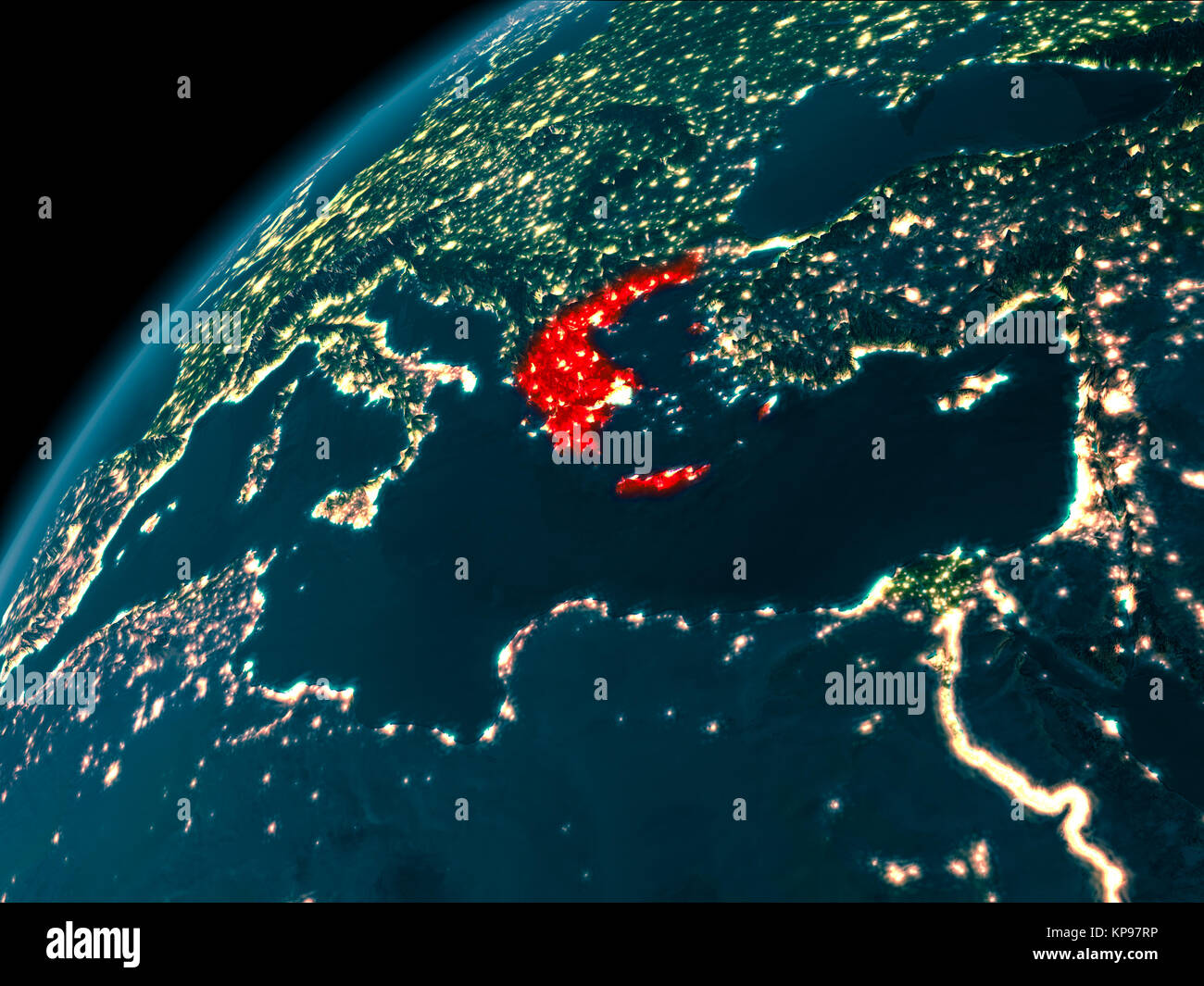 Night Map Of Greece As Seen From Space On Planet Earth D Stock - Map of the world from space at night