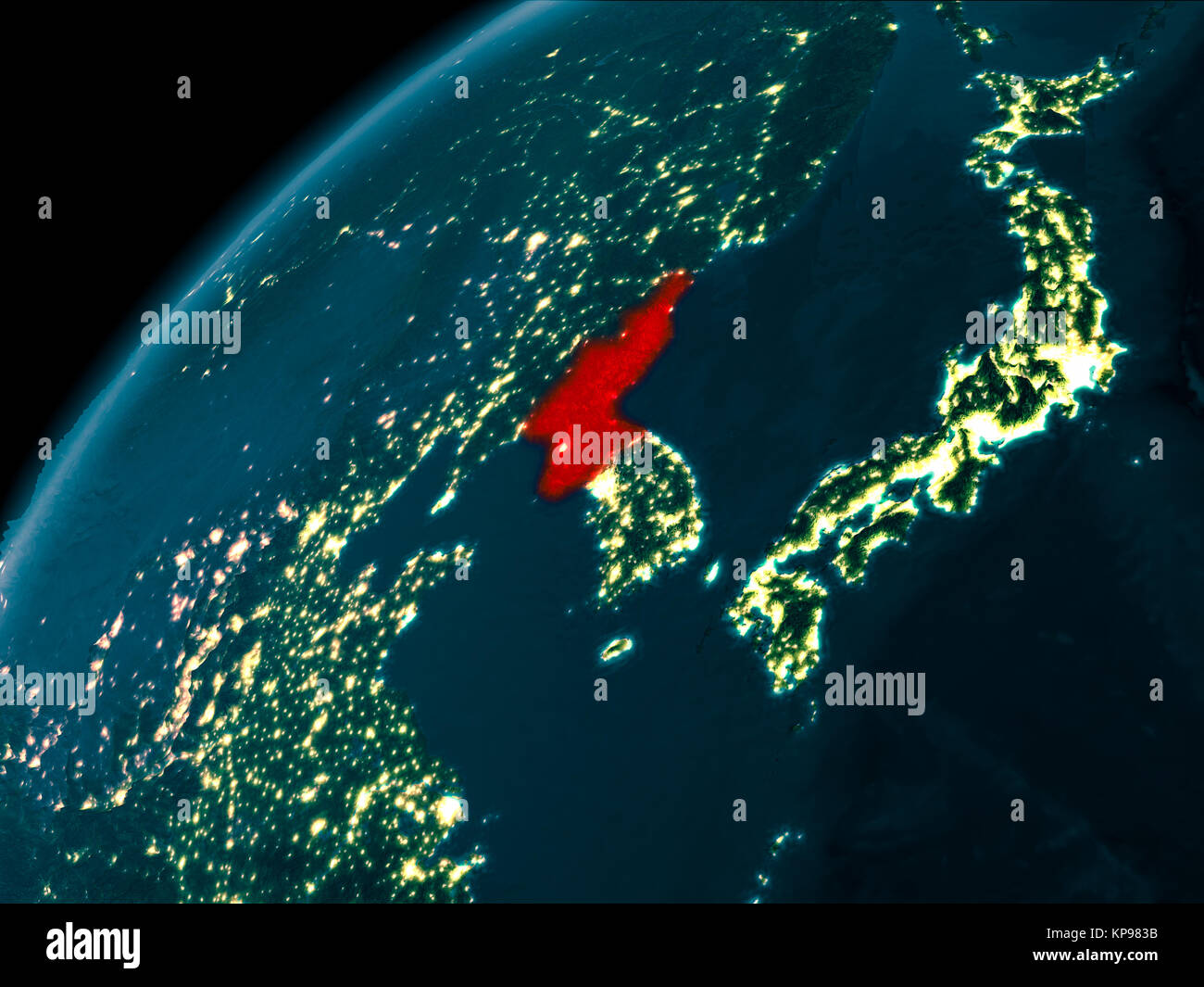 Night Map Of North Korea As Seen From Space On Planet Earth 3d