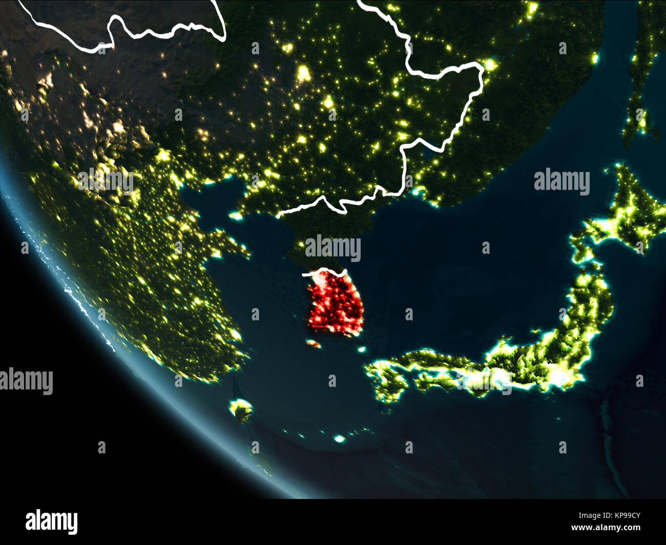 Satellite view of south korea highlighted in red on planet earth satellite view of south korea highlighted in red on planet earth at night with borderlines and city lights 3d illustration elements of this image fu gumiabroncs Images