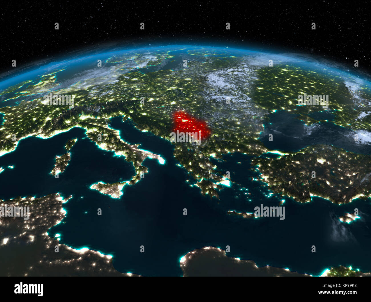 Satellite Night View Of Serbia Highlighted In Red On Planet Earth - World satellite night view