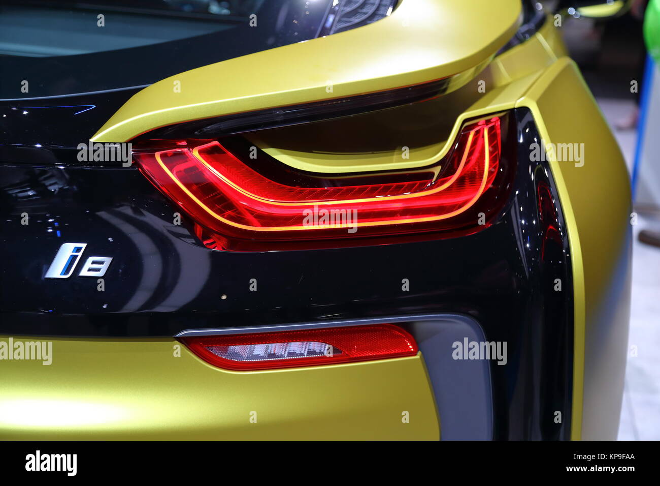The Tail Light Of A Bmw I8 Electric Sportscar At The Frankfurt Stock