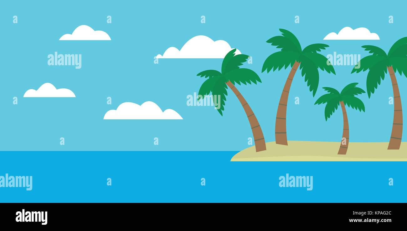 Tropical Island Cartoon: Mountain Island In Ocean Vector Stock Photos & Mountain