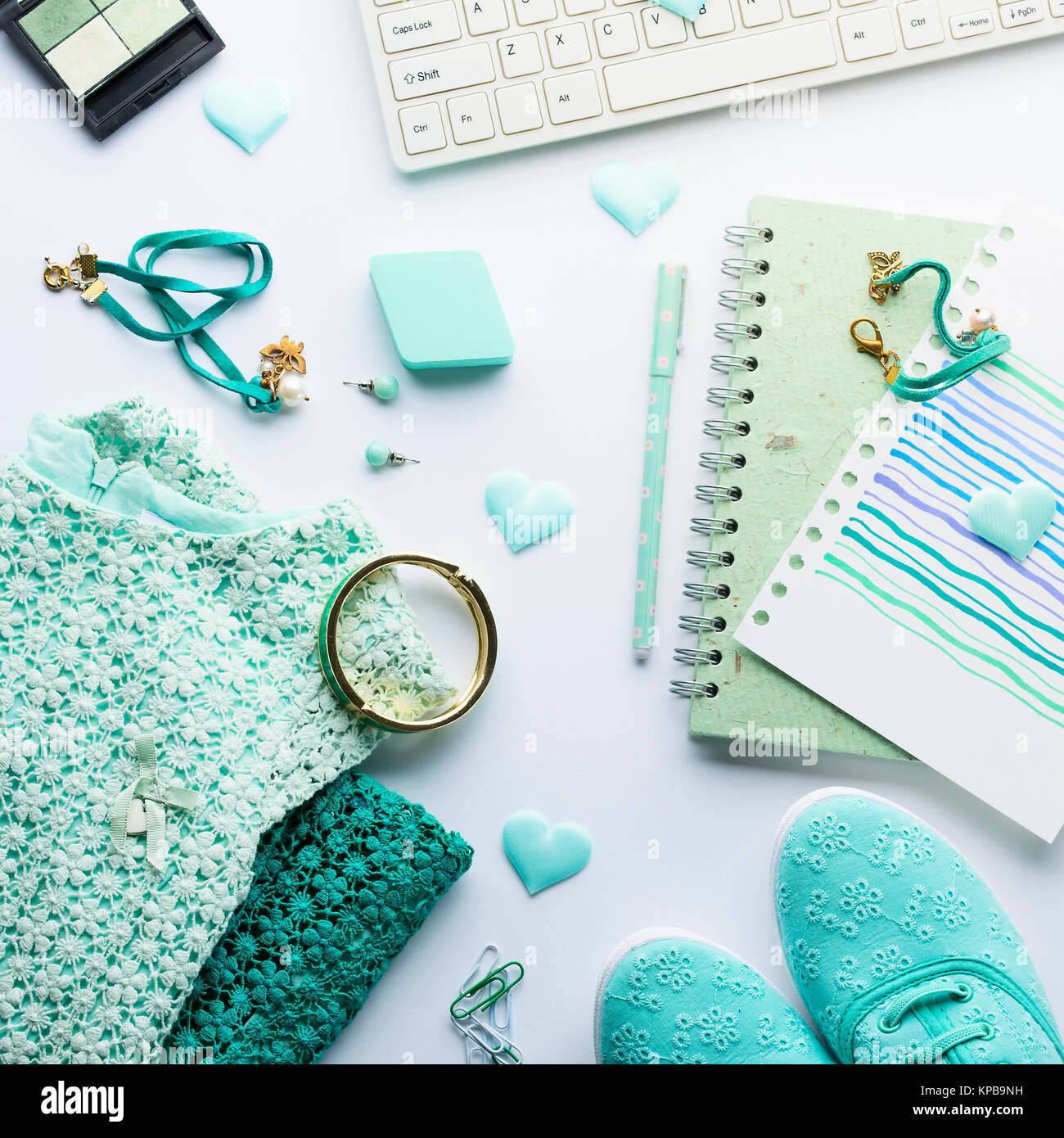 green pastel mint color fashion lifestyle woman clothes flat lay