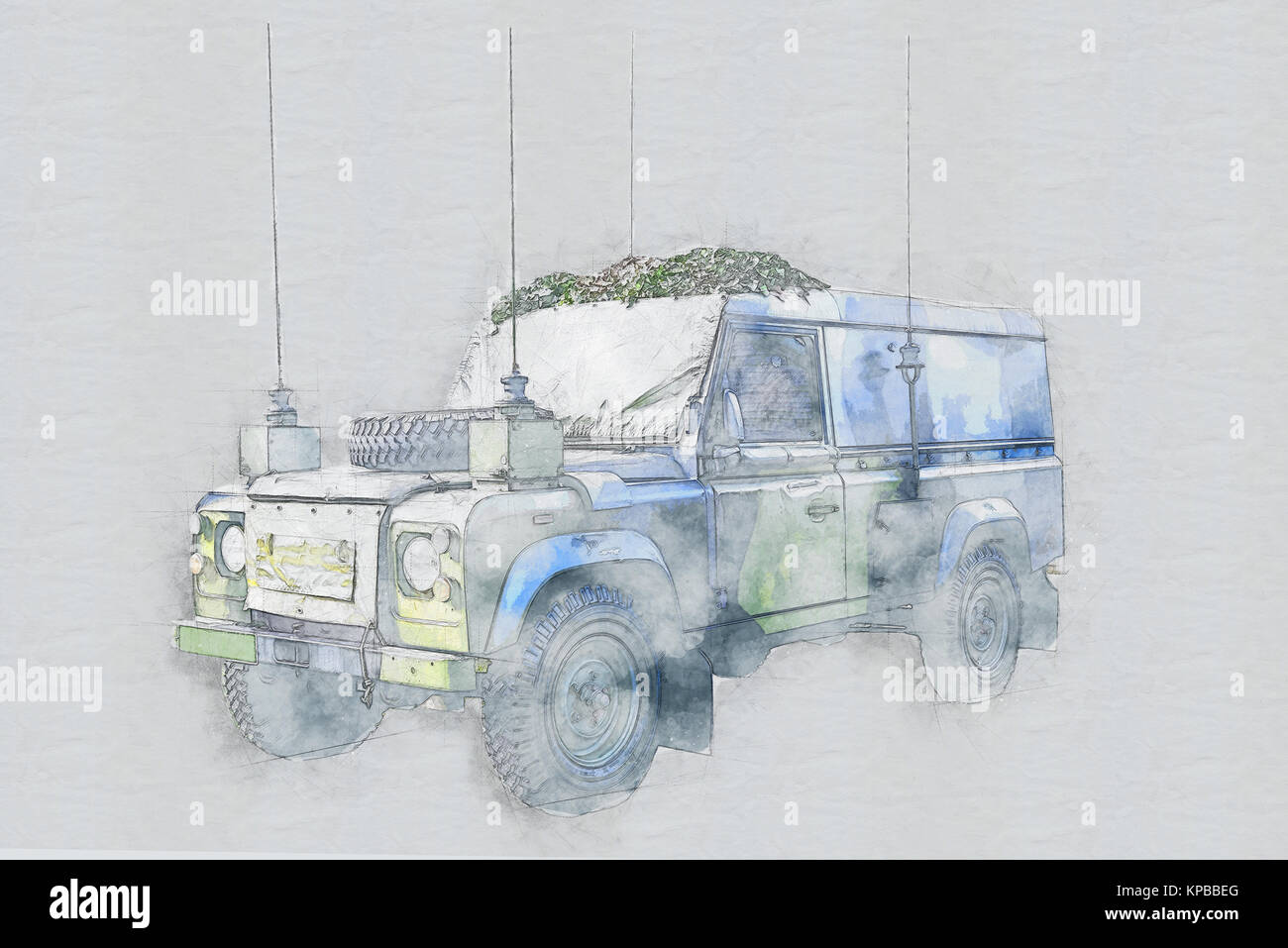 Army armoured vehicle isolated in technical drawing effect Stock ...