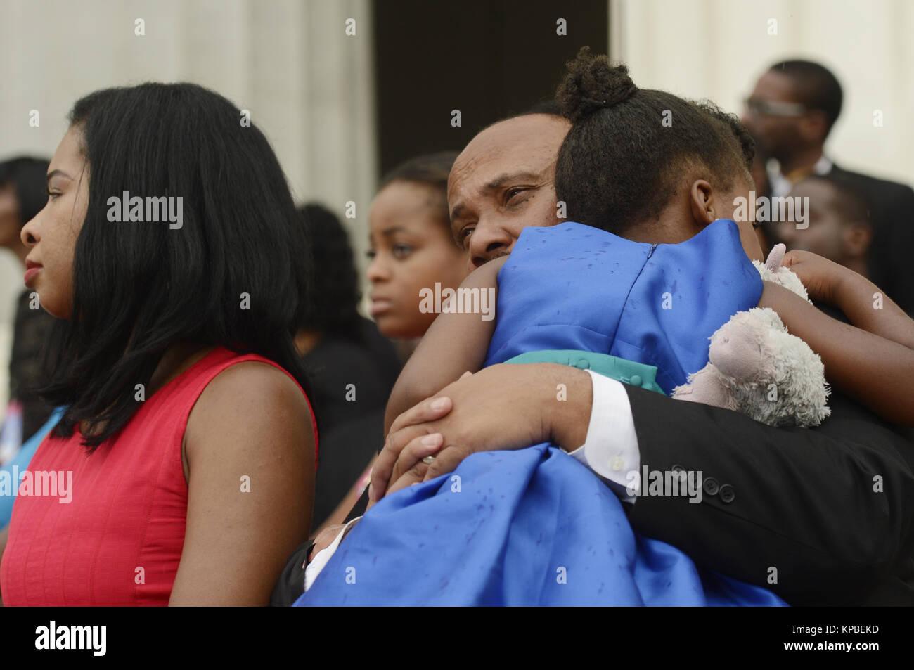 Martin Luther King Iii C Holds His Daughter Yolanda Renee King R