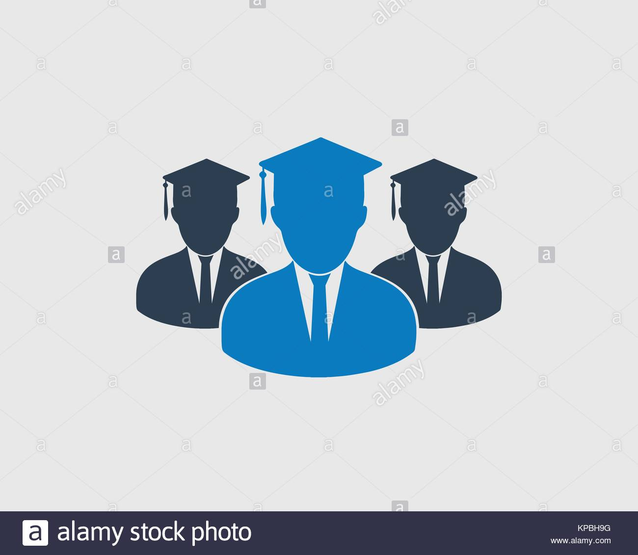 graduate students team icon with graduate head stock vector art