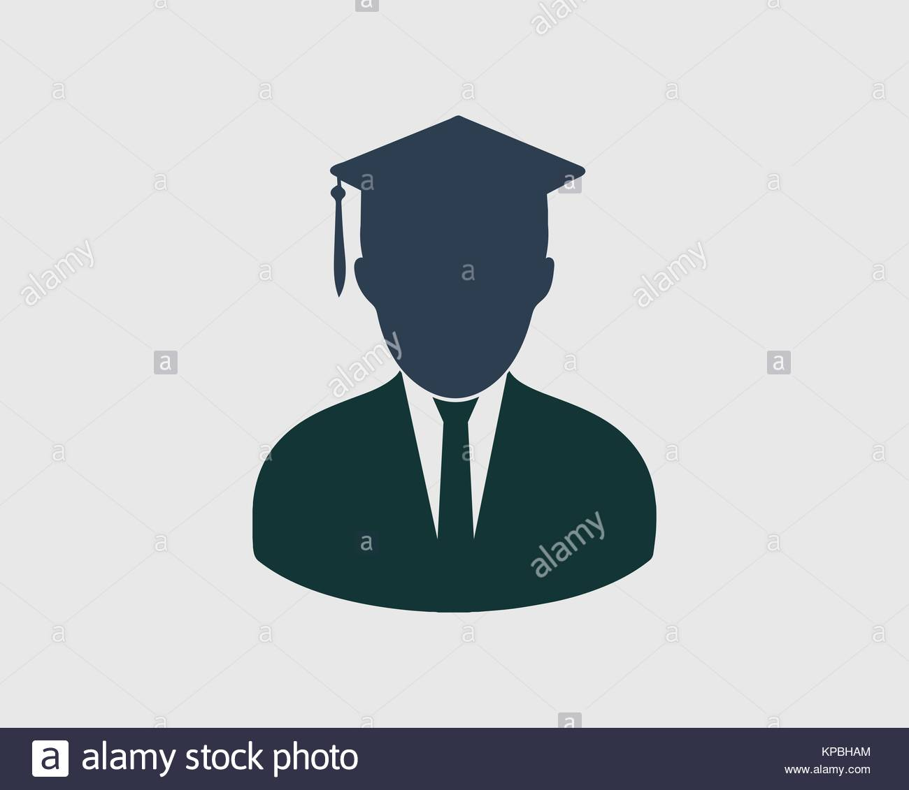 graduate students icon with graduate head in gray background stock