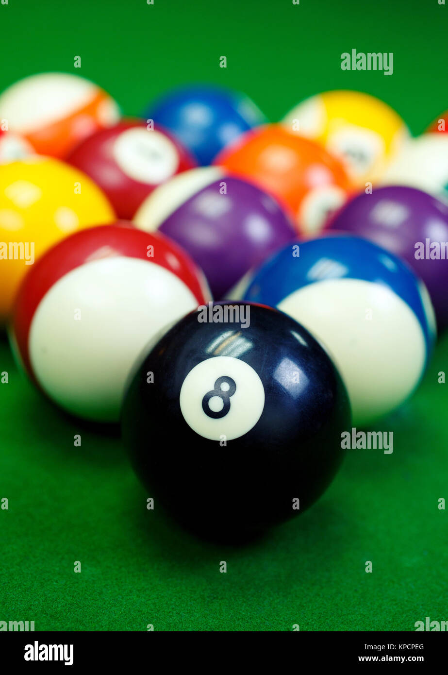 Billiard Balls On A Green Pool Table Closeup Stock Photo - Pool table with pegs