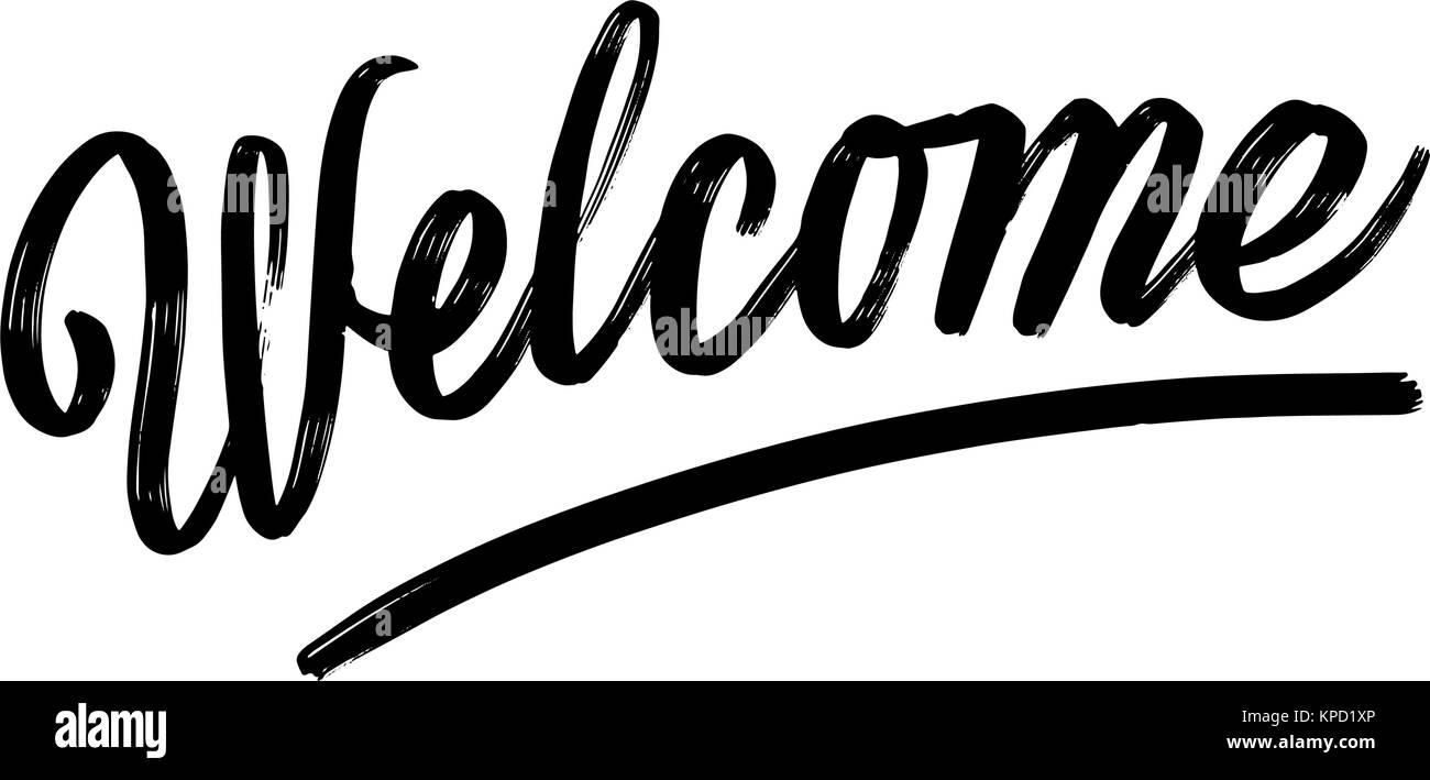 Welcome written phrase lettering by hand calligraphy vector sketch welcome written phrase lettering by hand calligraphy vector sketch with thick brush pen altavistaventures Choice Image