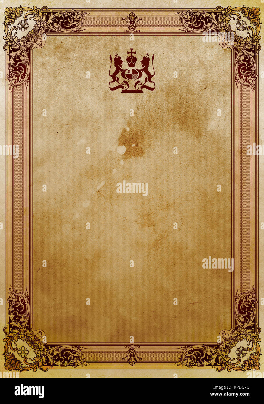 old grunge paper background with decorative vintage border stock