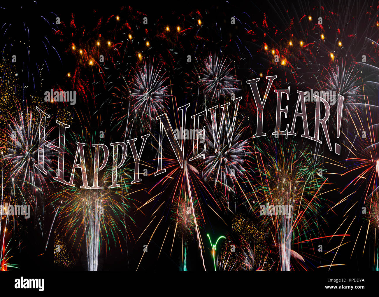 fireworks 2018 new years eve concept transparent words spell out happy new year also available with the year behind see kpddy9