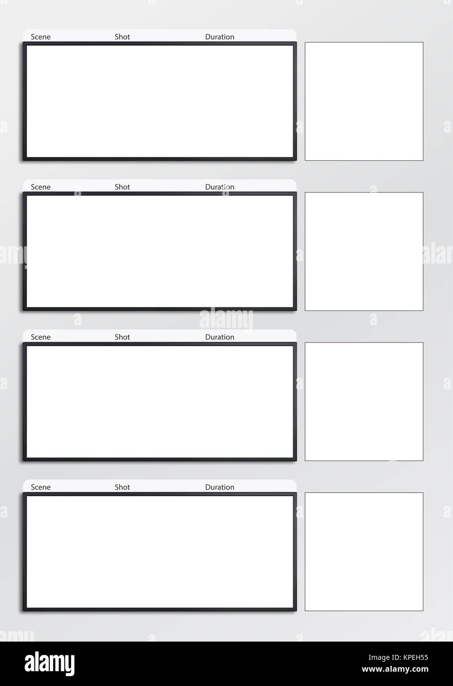 Film storyboard template vertical x4 Stock Photo: 168736545 - Alamy