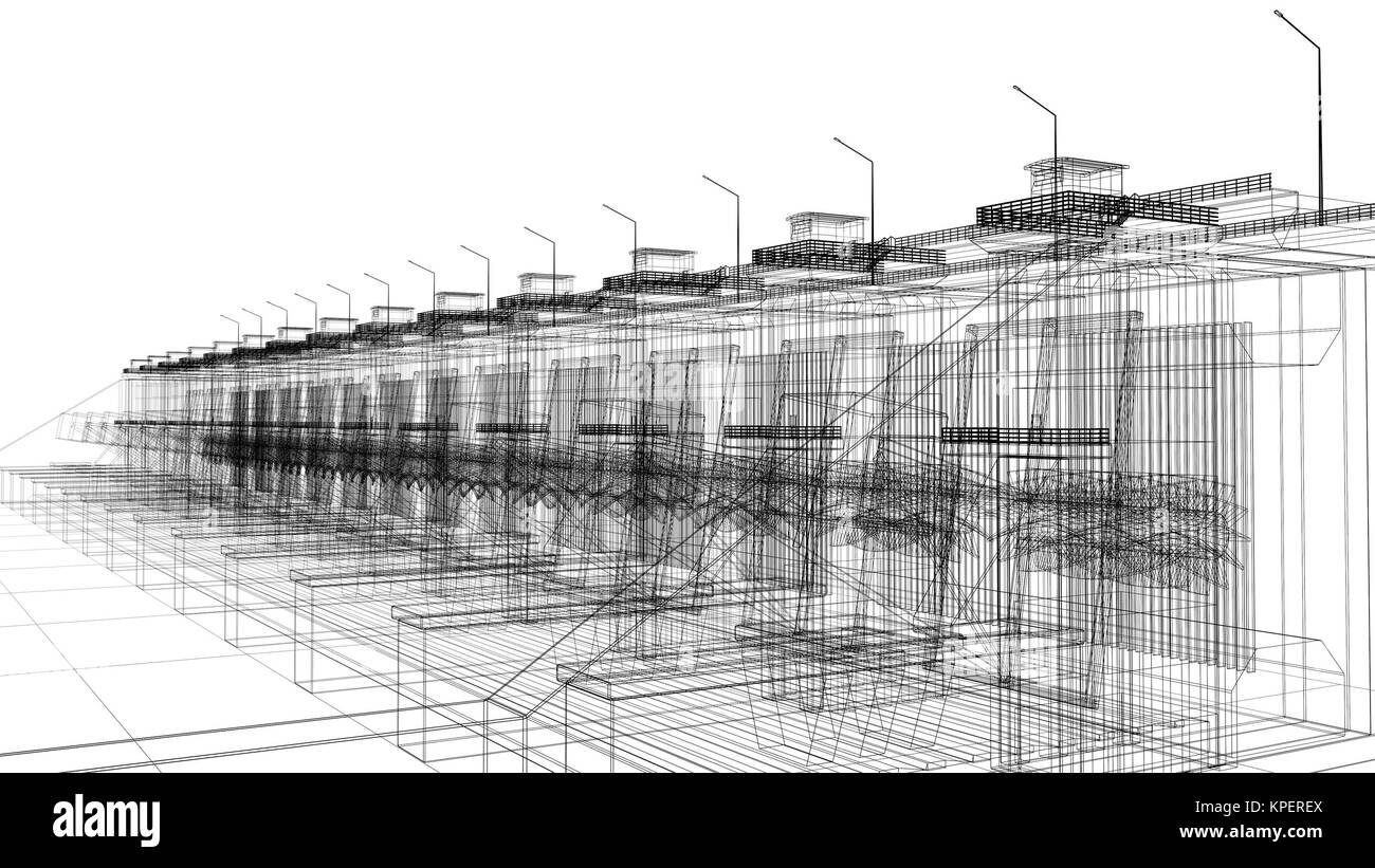 Abstract Bridge Wireframe Architecture