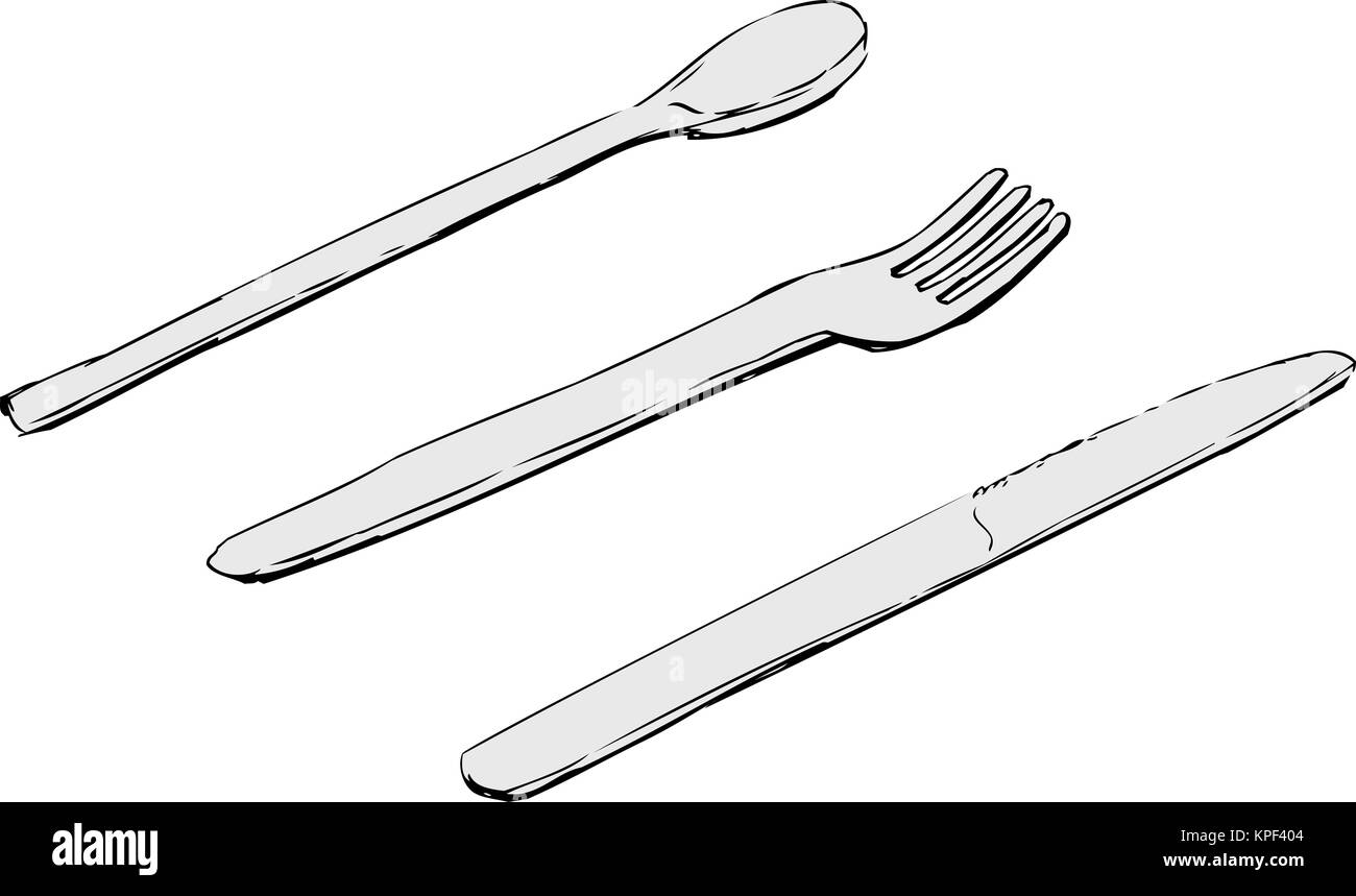 Fork And Spoon Sketch