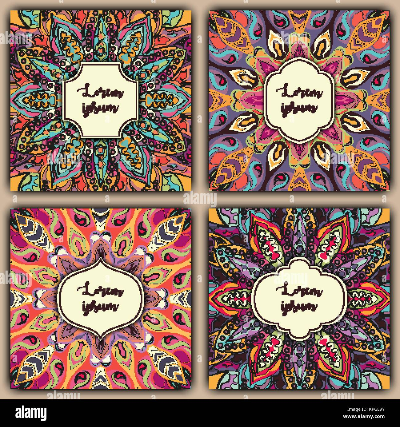 Set of mandala background cards vintage elements vector set of mandala background cards vintage elements vector decorative retro greeting card or invitation design kristyandbryce Image collections