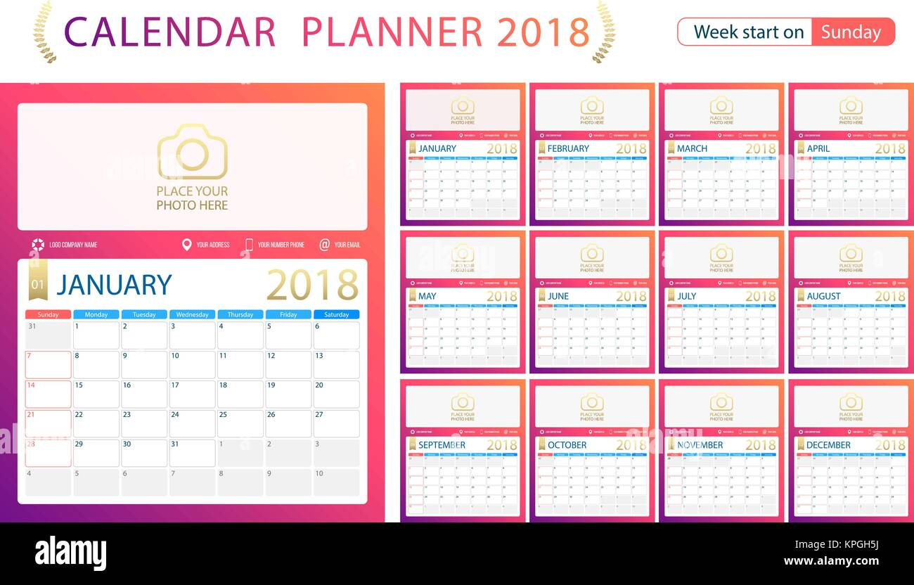 English Calendar Planner For Year 2018 Week Start Sunday Set Of 12 Months Corporate Design Template Size A4 Printable Templates