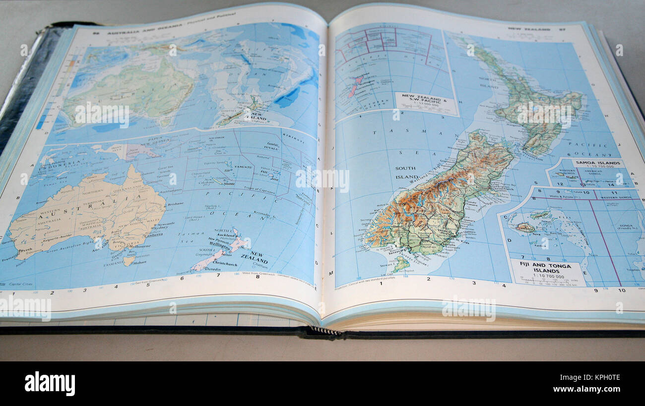 World atlas book stock photos world atlas book stock images alamy concise world atlas australia oceania new zealand page south africa gumiabroncs Images