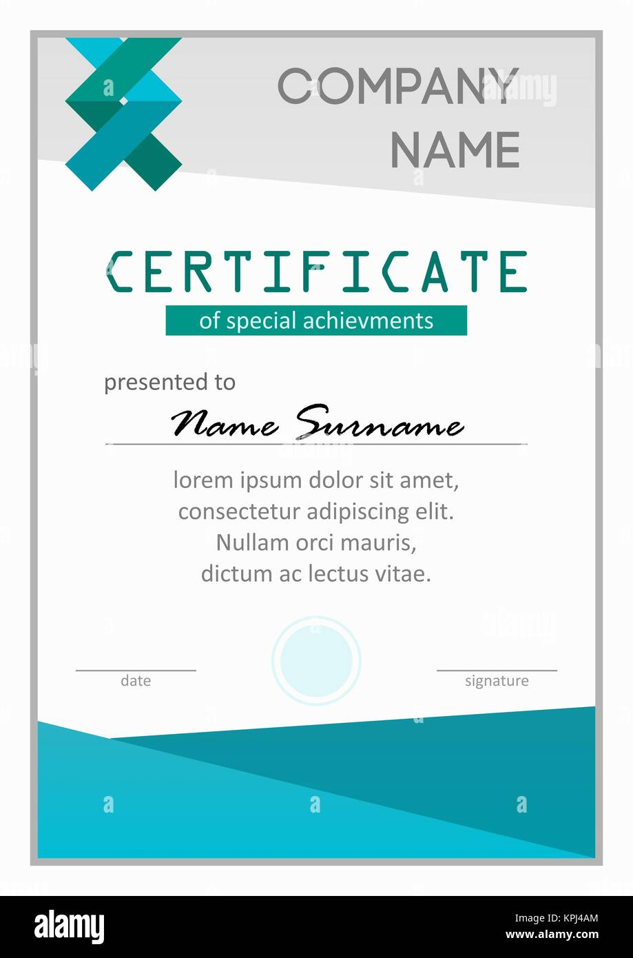Certificate Of Special Achievments   Stock Image  Official Certificate Template