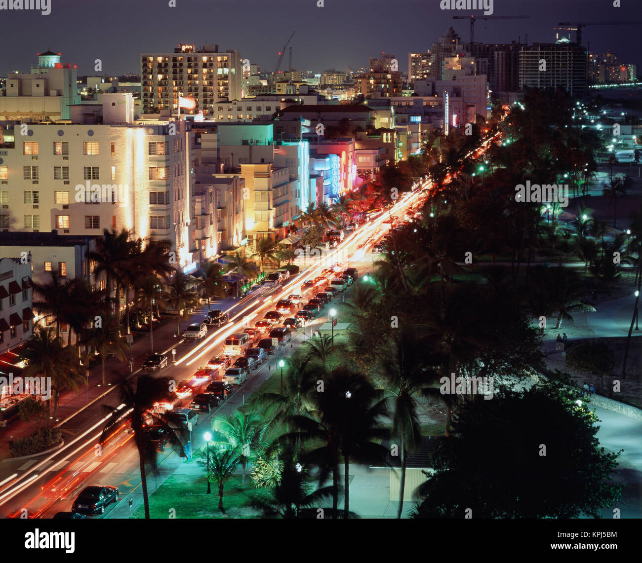 USA Florida Miami Beach Ocean Drive Art Deco Hotels At Night Large Format Sizes Available