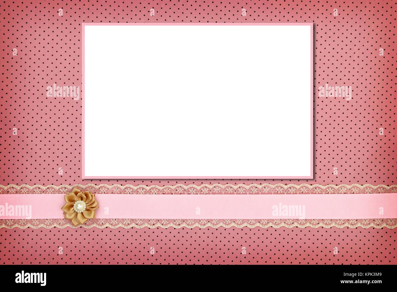 Photo frame on pink polka dot background Stock Photo: 168835753 - Alamy