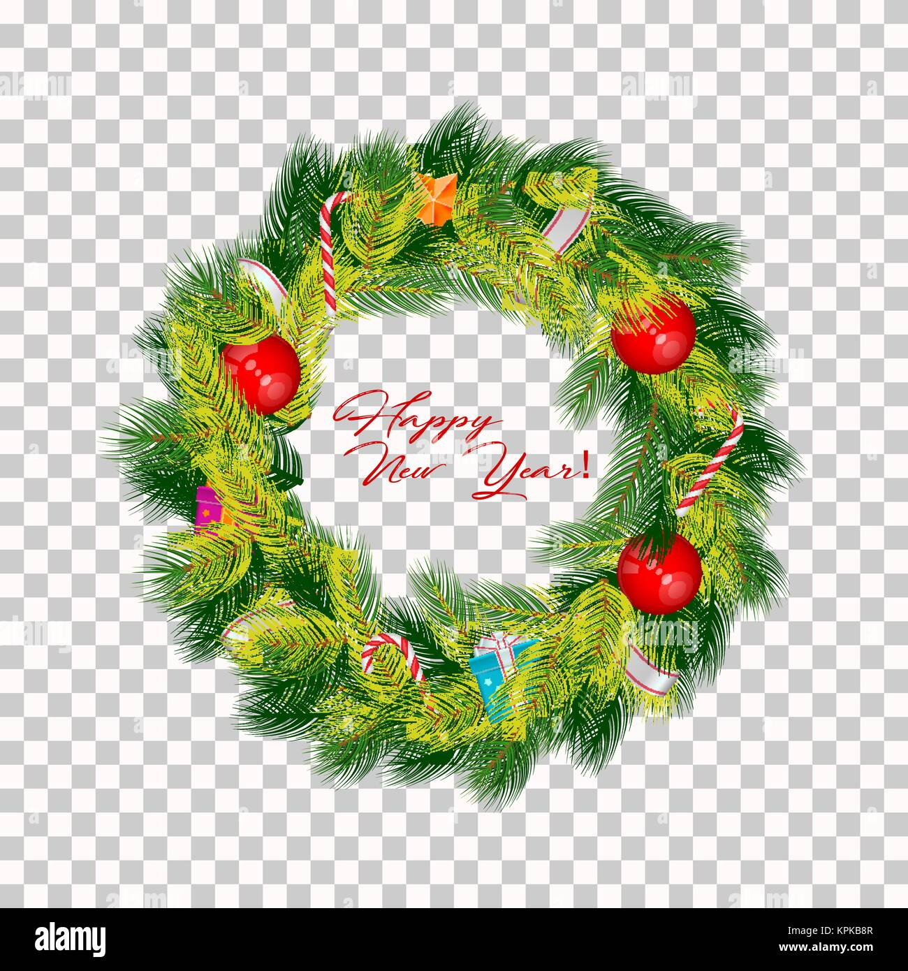Realistic Vector Christmas Wreath Isolated On Transparent Background