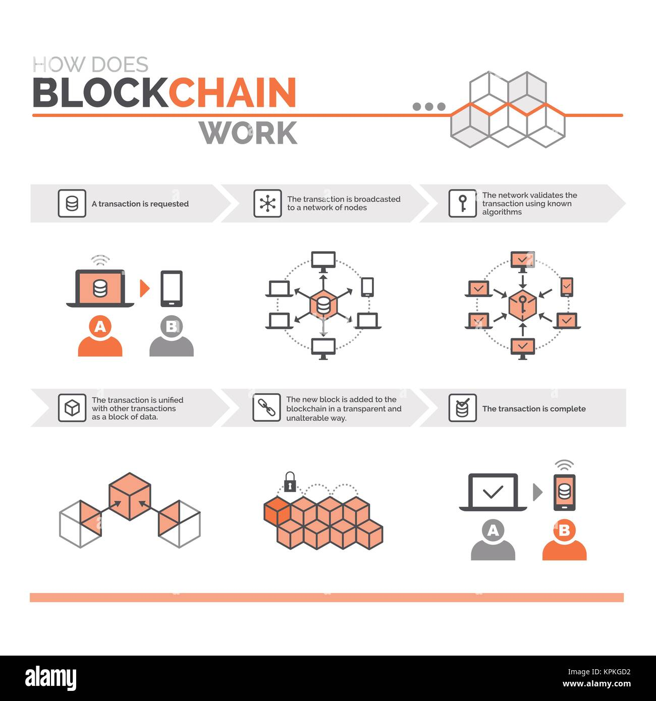 how does a blockchain work cryptocurrency and secure transactions infographic