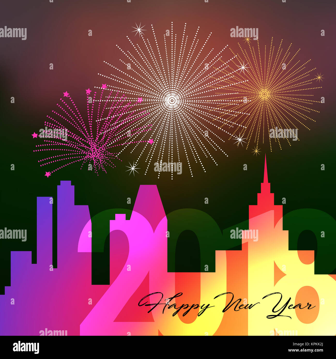 happy new year 2018 night big city background with salute firework illustration