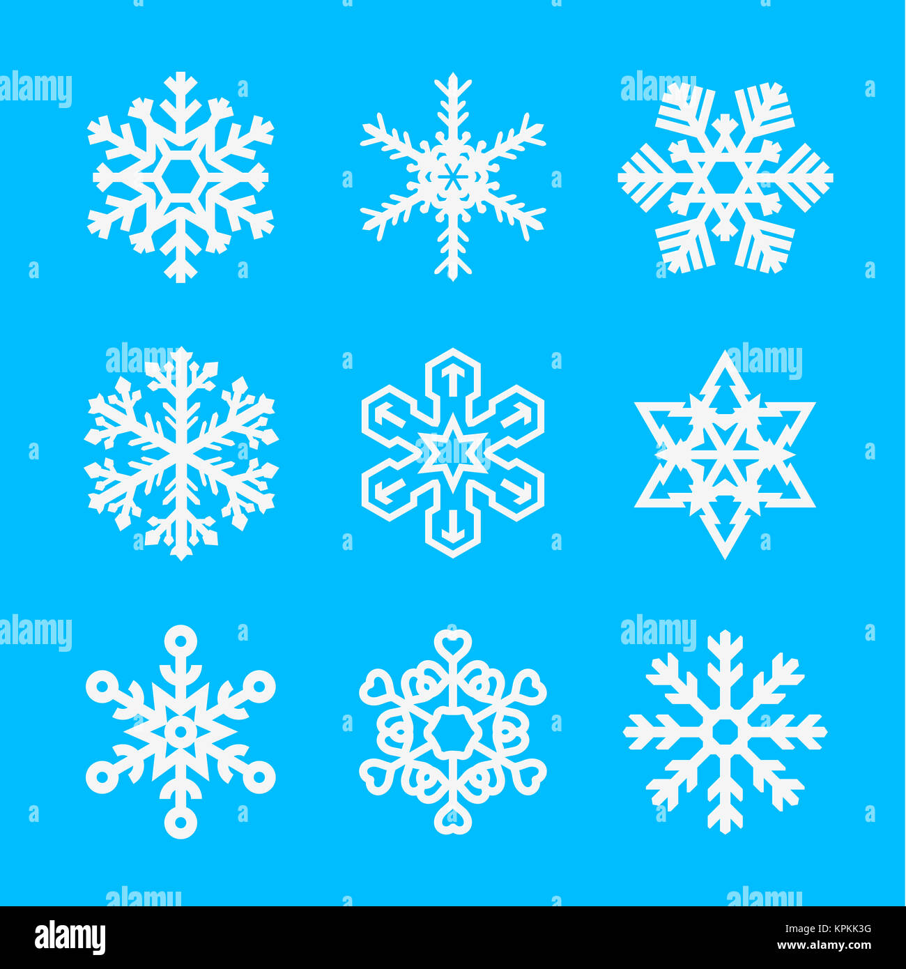Asterisk symbol stock photos asterisk symbol stock images alamy several different types of snowflakes snowflakes of different shapes on a blue background illustration biocorpaavc Image collections