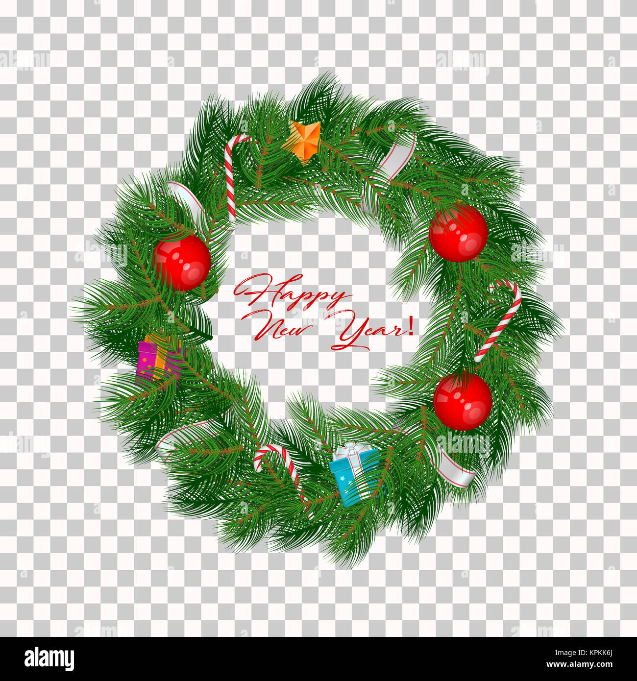 Realistic Christmas Wreath Isolated On Transparent Background With