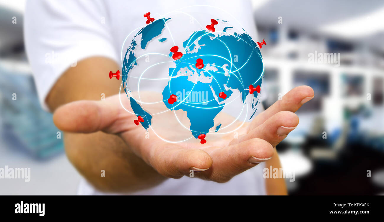 World Map On Hands.Businessman Holding Digital World Map In His Hands Stock Photo