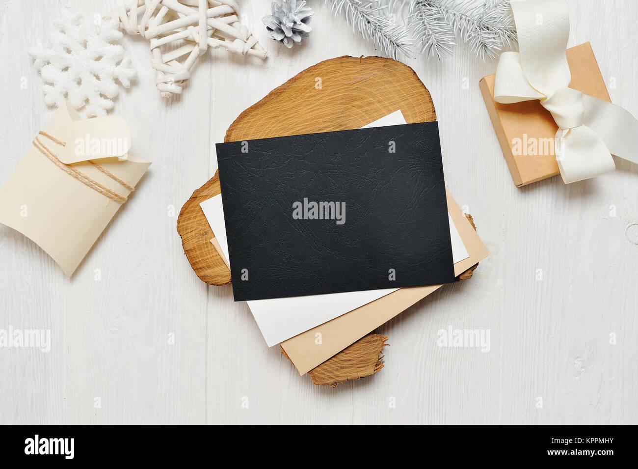 Mockup Christmas Black Greeting Card Letter In Envelope And Gift